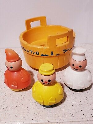 Vintage 1970's Fisher Price 3 Men in a Tub Complete Toy