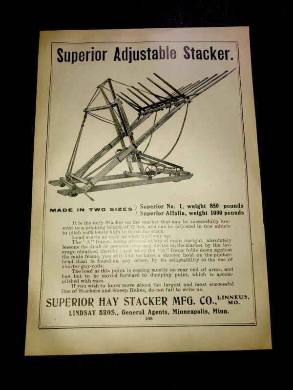 1908 Superior Hay Stacker Farm Advertising - Linneus - Missouri & Minneapolis