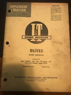 It Oliver Super 99gmtc 950 990 995 Tractor Shop Manual Supplement O-13