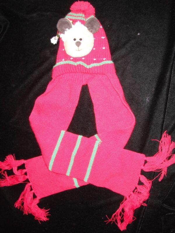 boys size 2 red KNIT CHRISTMAS WINTER HAT SCARF 1 PC PUPPY DOG MANDARINA WARM @@
