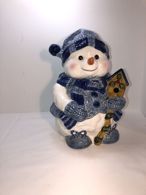 Snowman Cookie Jar Or Adorable Decoration Dressed In Blue.