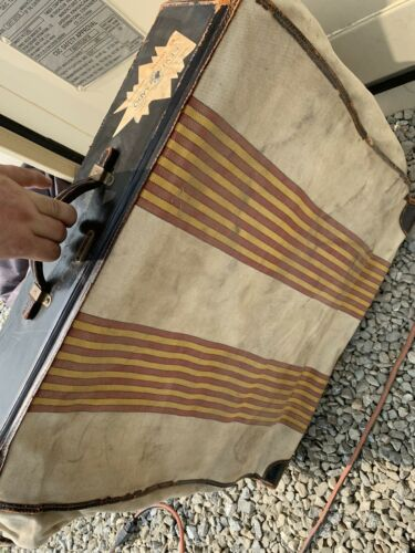 Oshkosh Chief Wardrobe Striped 1930s Vintage Antique Luggage Needs A Little Love - $129.99