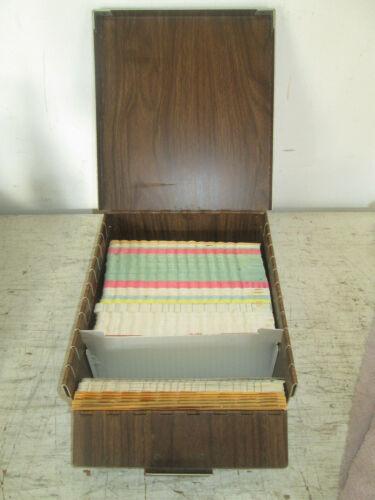 Vintage Index File Metal Box & Cards, Unbranded