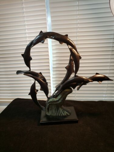 Bronze School of Dolphins Riding a Wave Statue