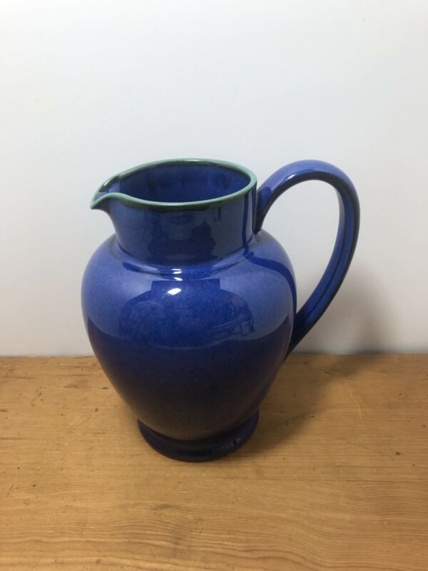 Denby Metz 48 Oz Pitcher Vibrant Blue With Green Edge Made In England