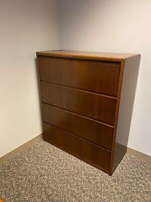 4dr 45w Lateral File Cabinet Bysteelcase Office Furniture In Walnut Finish Wood