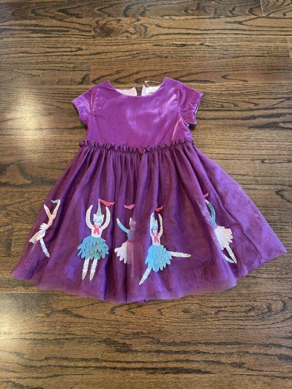 Mini Boden Velvet Tulle Ballerina Cat Applique Dress Purple Holiday Size 4-5 Yr