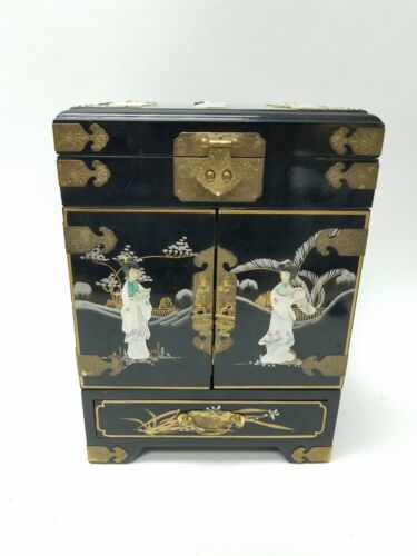 Antique Asian Jewelry Chest Mother of Pearl 15x11x8 Free S&H
