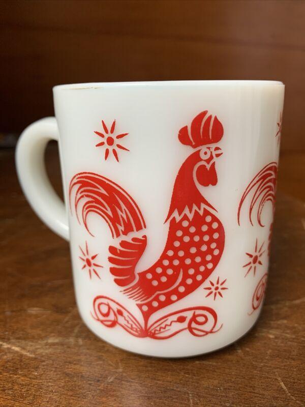 VNTG Hazel Atlas Platonite Milk Glass Red Rooster Chicken Mug Coffee Cup 8 Oz