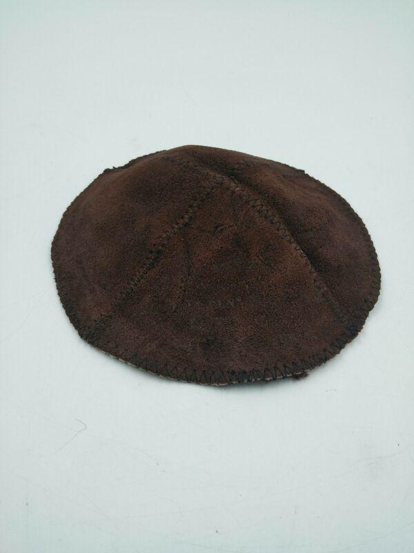 Vintage Brown Suede Leather Kippah Yamaka Yamakah Yarmulka 5 1/2 in Diameter EUC