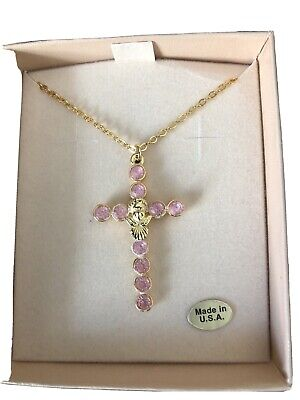 AUTHENTIC KIRKS FOLLY LADIES NECKLACE CRYSTAL PINK CROSS PENDANT GOLD TONE