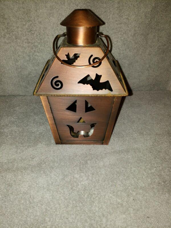 Cooper Halloween Lantern, jack-o-lantern, bats, candles, handle