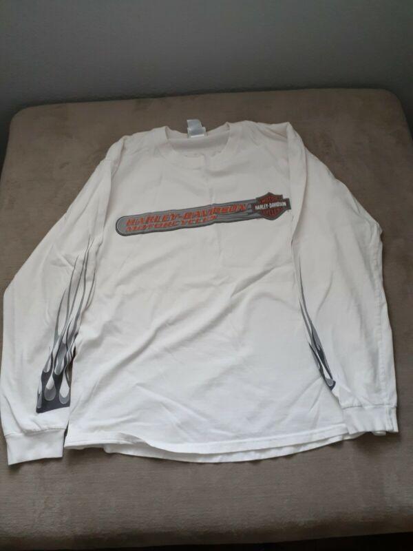Harley Davidson Mens Long Sleeve White Sz Large Shirt