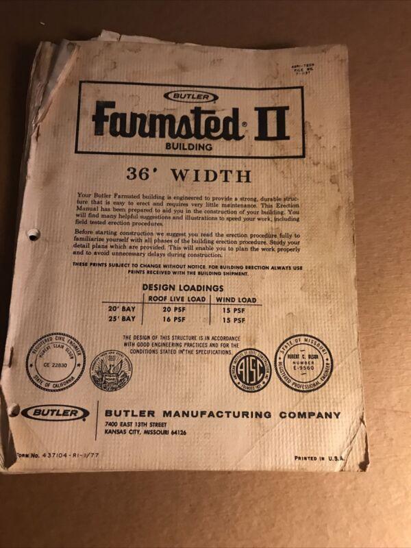 Butler Manufacturing Farmstead II 36' Erection Guide Construction Manual 1977