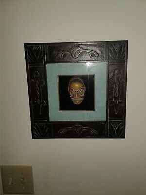 African Mask African Shadow Box (Hand Carved Wooden Tribal African Mask Vintage in shadow box frame )