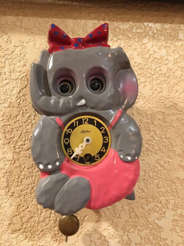 RARE Vintage Linden Wall Clock Animated Baby Elephant Japan WORKS Kit Kat