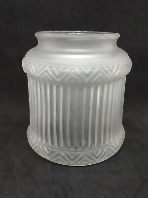 Early Style Frosted Glass Hanging Or Floor Lamp Lined Pattern Light Shade