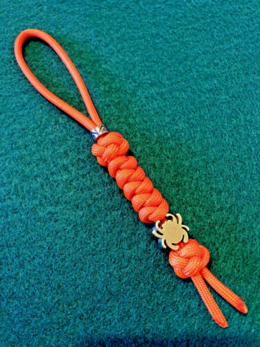550 Paracord Knife Lanyard Blaze Orange With Brass Alloy Spyderco Bead.