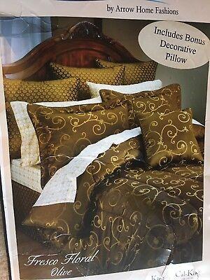 Laguna Shores Fresco Floral Olive King 5 Piece Comforter Set - Laguna Comforter Set
