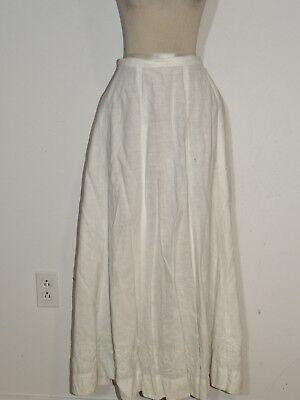 Edwardian White Linen Gored Skirt w Soutache Border  w- 25
