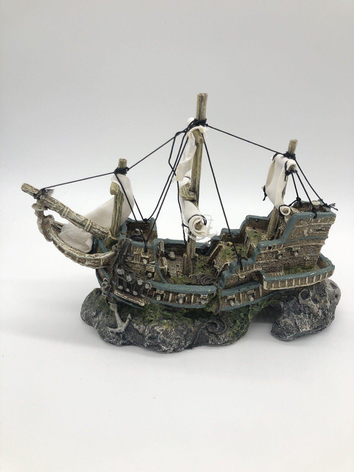 Aquarium Ornament Shipwreck, Fish Tank Cave Decor. Measurements In Description. - $16.99