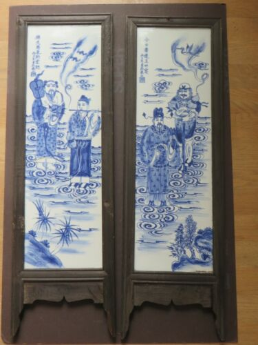Antique Asian 2 Large Hand Painted Porcelain Plaques Mounted on Wooden Panels