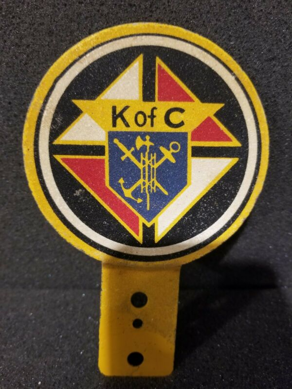 Vintage Knights of Columbus LICENSE PLATE TOPPER Emblem Badge