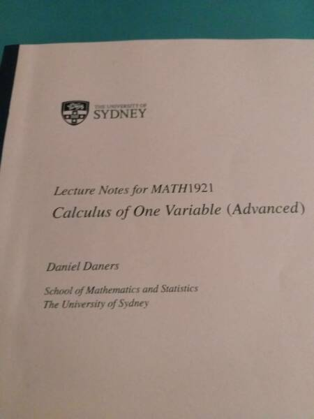 Calculus of One variable (Advanced) - Math1921 | Textbooks