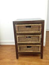 Dark brown bedside table w/cane draws Coogee Eastern Suburbs Preview