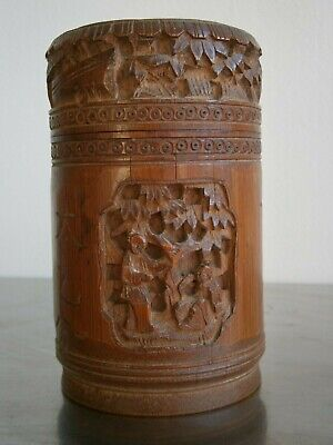 Box Pot Bamboo Decoration Carved Antique Deco Art Asia China Orient
