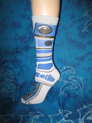 Nwot Star Wars R2d2 R2 D2 Droid Blue Grey White Mens Crew Dress Socks