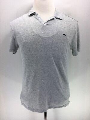Vineyard Vines Mens Fin Yarn Dyed Open Collar Feeder Linen Polo Shirt SZ-S