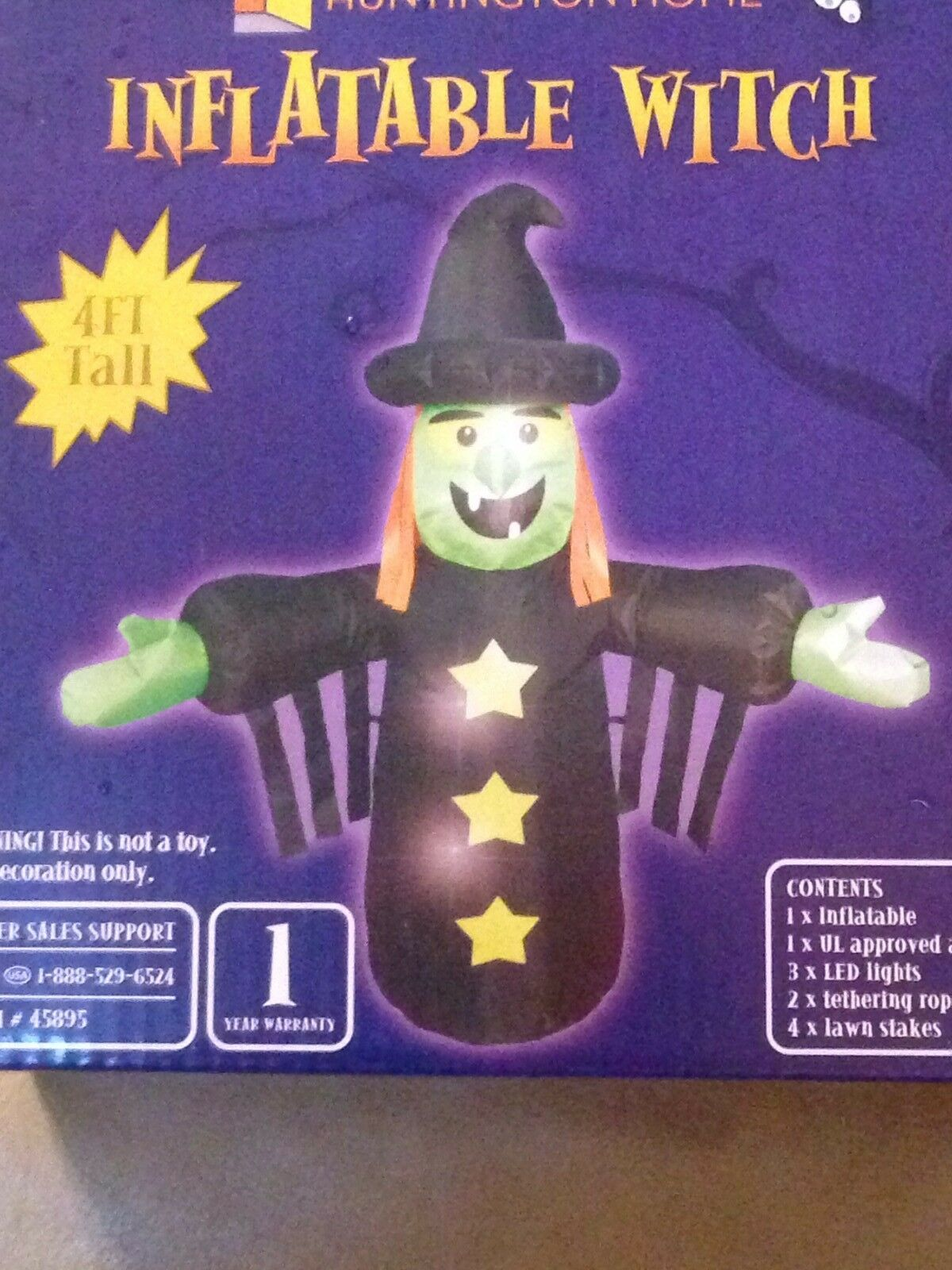 Halloween 4' Airblown Inflatable Green Witch Led Yard Decoration