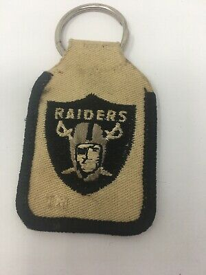 Oakland Raiders Nfl Ring (Vintage Oakland Raiders NFL Emblem Embroidered Cloth  Key Ring Fob)