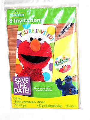 NEW ~SESAME STREET 8-INVITATIONS W/ENVELOPES- PARTY - Sesame Street Party Invitations