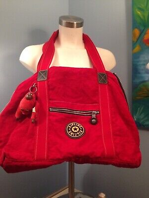 NICE Vintage KIPLING M Private Transport Red Bag Tote Expandable 22x15