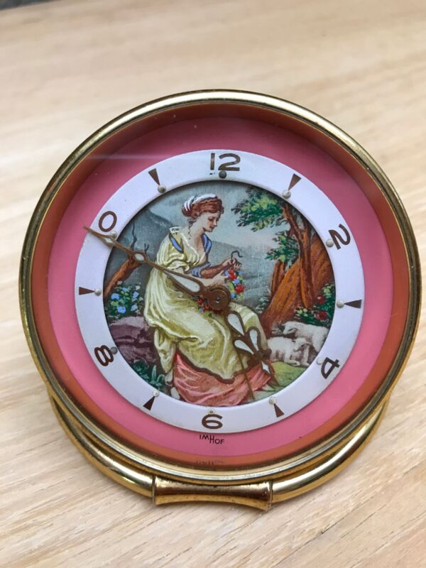 "Vintage IMHOF Swiss 8 Alarm Clock with Painting ""Shepherdess"""