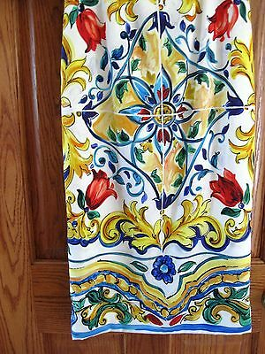 d82281f2449 ... Dolce   Gabbana AUTH NEW Blue Yellow Red Maiolica Tile Print Sheath  Dress 38 фото