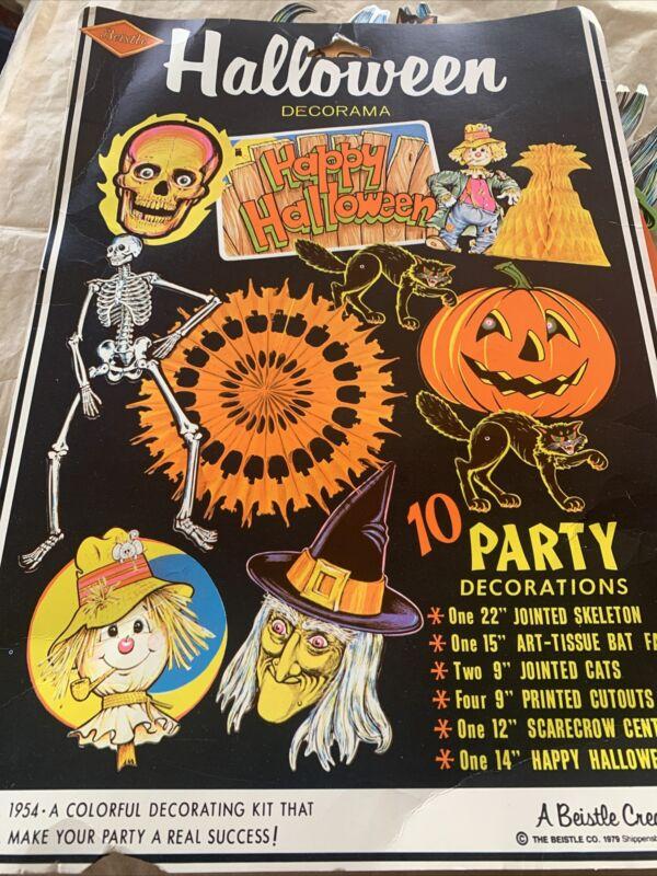 Vintage Halloween Decoama Art Tissue Jointed Skeloton Bat Pumpkin Thanksgiving