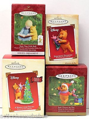 LOT 4 HALLMARK WINNIE THE POOH ORNAMENT'S: Disney A Boost for Piglet, Story Time