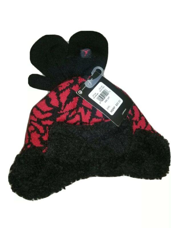 NEW Sz 2 - 4 T Toddler Nike Air Jordan Jumpman Hat Mittens Set Red Black  $ 30