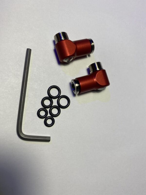 Paintball Pair CCM Aluminum Air Fittings Semi Gloss Red Elbows