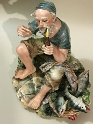 CAPODIMONTE NEAPOLITAN FISHERMAN WITH PIPE AND FISH BASKET FIGURINE