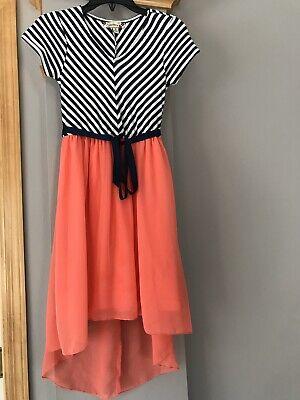 Speechless girls dress, size 8,nautica theme,White/Navy, Orange High-low Skirt