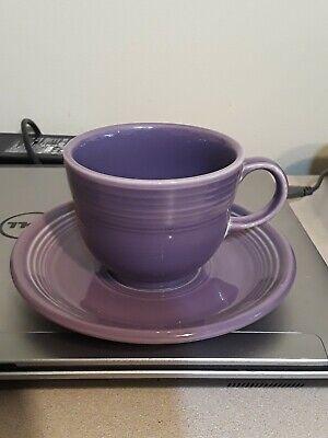 Fiesta Fiestaware Lilac Purple Tea Cup & Saucer Hlc Pottery Dinnerware Retired