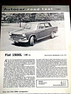 FIAT 1500L - 1481cc -1964 - Original AUTOCAR Road Test Leaflet