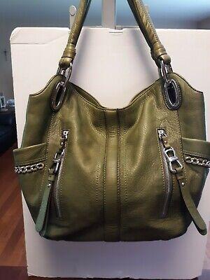 B. MAKOWSKY Chain Accents Dark Olive Green Leather Large Shoulder Handbag
