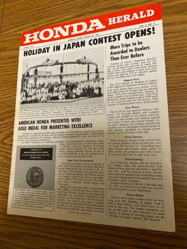 Honda Herald Spring 1967 Vintage Motorcycle Dealership Advertising Piece Scarce!