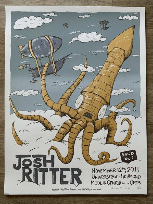 JOSH RITTER concert gig poster Richmond VA 11.12.11 silk screen show tour #d /50