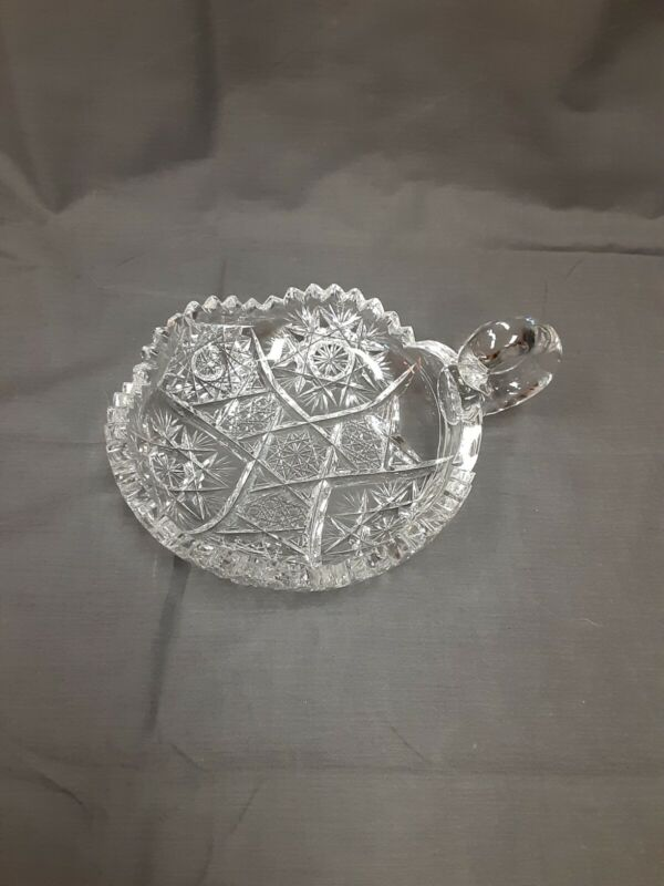 Late 19th Century Antique Lead Crystal Candy Dish w/Sawtooth rim.